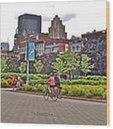 Walkway By Quays Along Saint Lawrence River In Montreal-qc Wood Print