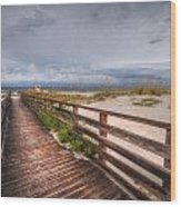 Walkway To The Beach At Romar Access Wood Print