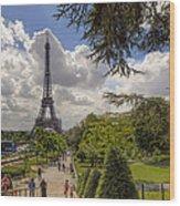 Walkway To The Eiffel Tower Wood Print
