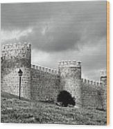 Wall Against Clouds Wood Print