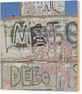 Wall Art Graffiti Concrete Walls Casa Grande Arizona 2004 Wood Print