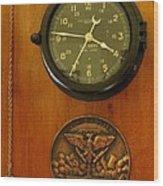 Wall Clock And Plague Wood Print