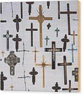 Wall Of Crosses Wood Print