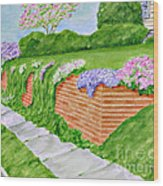 Wall Of Flowers Wood Print