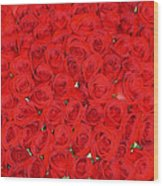 Wall Of Red Roses Wood Print