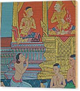 Wall Painting 2 In Wat Po In Bangkok-thailand Wood Print
