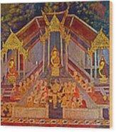 Wall Painting 3 At Wat Suthat In Bangkok-thailand Wood Print