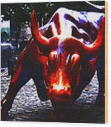 Wall Street Bull - Painterly Wood Print by Wingsdomain Art and Photography