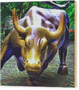 Wall Street Bull V2 - Square Wood Print by Wingsdomain Art and Photography