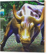 Wall Street Bull V2 Wood Print by Wingsdomain Art and Photography