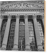 Wall Street New York Stock Exchange Nyse Bw Wood Print