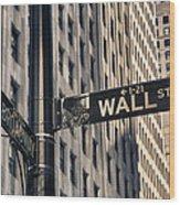 Wall Street Sign Wood Print
