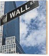Wall Street Street Sign New York City Wood Print