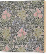 Wallpaper Design With Tulips Daisies And Honeysuckle  Wood Print