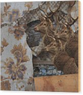 Wallpaper Stags Wood Print
