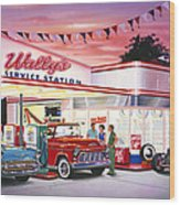 Wallys Service Station Wood Print