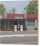 Wallys Service Station Mayberry Wood Print