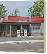 Wallys Service Station Mt. Airy Nc Wood Print by Bob Pardue