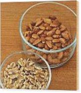 Walnuts And Almonds Wood Print