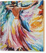 Waltz - Palette Knife Oil Painting On Canvas By Leonid Afremov Wood Print
