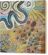 Wandering In Thought2 Original Abstract Colorful Landscape Painting For Sale Yellow Blue Green Wood Print