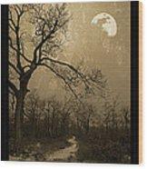 Waning Winter Moon Wood Print