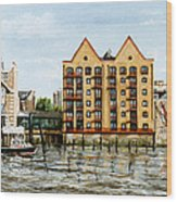 Wapping Thames Police Station And Rebuilt St Johns Wharf London Wood Print