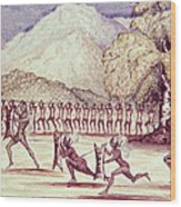 War Dance, Illustration From The Albert Nyanza Great Basin Of The Nile By Sir Samuel Baker, 1866 Wc Wood Print