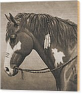 War Horse Aged Photo Fx Wood Print
