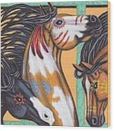War Horse Family Wood Print