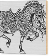 War Horse - Zentangle Wood Print
