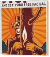 War Poster - Ww2 - Fire Safety Wood Print