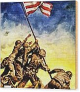 War Poster - Ww2 - Iwo Jima Wood Print