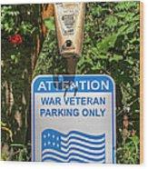 Veteran Parking Sign Wood Print