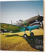Warbird Curtiss P-40 E Wood Print