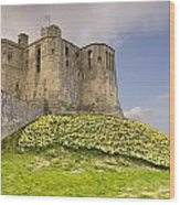 Warkworth Castle With  Daffodils Wood Print