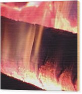 Warm Glowing Fire Log Wood Print