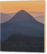 Warm Mountain Layers Wood Print