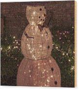 Warm Weather Snowman Wood Print