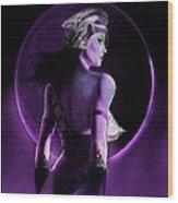 Warrior Goddess Of The Purple Moon Wood Print by Renee Reeser Zelnick