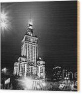 Warsaw Poland Downtown Skyline At Night Wood Print