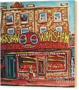 Warshaw's Bargain Fruit Store Rue St Laurent Montreal Paintings City Scene Art Carole Spandau Wood Print