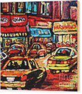 Warshaw's Bargain Fruits Store Montreal Night Scene Jewish Montreal Painting Carole Spandau Wood Print
