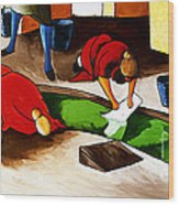 Washing Clothes At Canal Wood Print by William Cain
