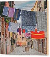 Washing Hanging Across Street, Venice Wood Print
