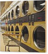 Washing Machines At Laundromat Wood Print