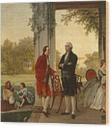 Washington And Lafayette At Mount Vernon Wood Print