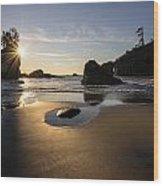 Washington Beach Sunstar Dusk Wood Print