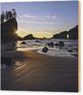 Washington Coast Evening Sunstar Tide Wood Print