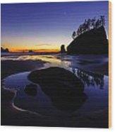 Washington Coast Sunset Pool Of Radiance Wood Print